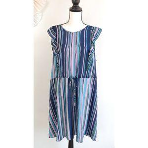 NWOT Modcloth Get Into Ruffle Blue Striped Dress